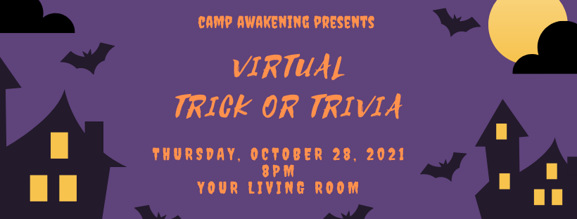 Digital banner promoting 2021 Trick or Trivia fundraiser with bats, a full moon and spooky font